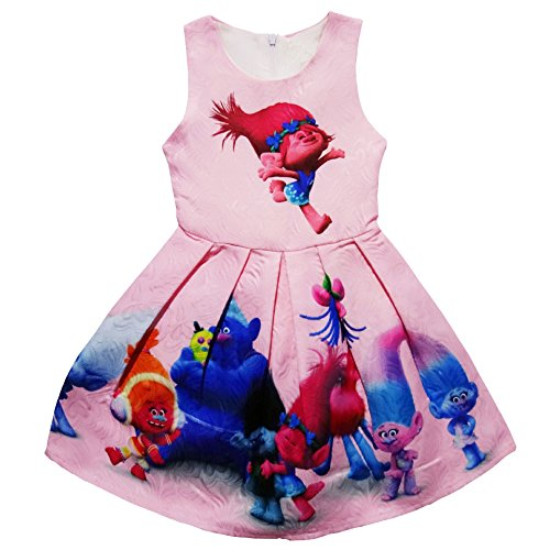 ZHBNN Little Girl Princess Cartoon Trolls Halloween Cosplay Dress up (Pink,110/3-4Y) -