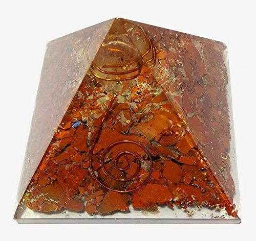 WholesaleGemShop Red Jasper Crystal Orgone Reiki Pyramid With Copper Coil Crystal Point -