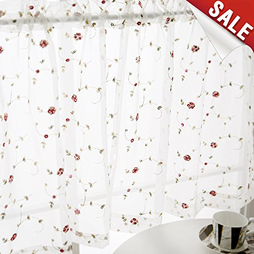 Sheer Curtains Floral Embroidered Curtains for Bedroom Red Rose Buds on White Rod Pocket Voile Panels for Kitchen 24