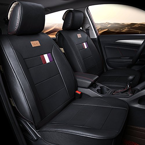 INCH EMPIRE Adjuatable Easy to Clean PU Leather Car Seat Cushions 5 seats Full Set - Anti-Slip Suede Backing Universal Fit Car Seat Covers for Both Fabric and Leather Car Seats(Pure Black)