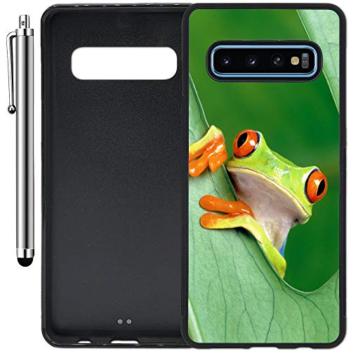 Custom Case Compatible with Galaxy S10 Plus (6.4 inch) (Nice Rain Forest Frog) Edge-to-Edge Rubber Black Cover Ultra Slim | Lightweight | Includes Stylus Pen by Innosub