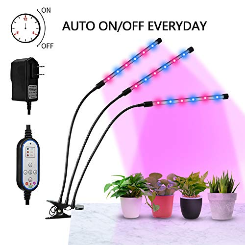 [Auto Turn ON&OFF Every Day] ELIVERN 36W LED Plant Grow Lights, IR & UV grow lights for indoor plants,8 Dimmable Levels,4/8/12H Memory Timing, Adjustable Gooseneck for Greenhouse Hydroponics Gardening by ELIVERN