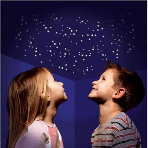 350 Teile Set Leucht Sterne Sternenhimmel nachtleuchtende UV Sticker für  Decke und Wand inklusive Sternkarte Deko Zauber Traum für Schlafzimmer, ...
