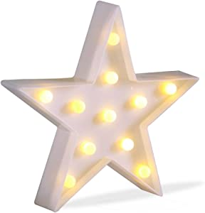 Pooqla JUHUI Marquee Light Star Shaped LED Plastic Sign-Lighted Marquee Star Sign Wall Décor Battery Operated (White)