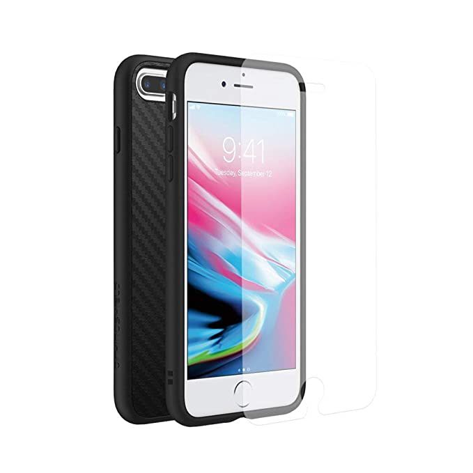 low priced 414c0 3f543 RhinoShield Full Impact Protection Case for [ iPhone 8/7 Plus ], Military  Grade Drop Protection, Slim, Scratch Resistant - Carbon Fiber Texture ...