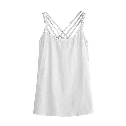 Vovotrade Blusa de la camisa sin mangas ocasional del chaleco de la mujer Cami color blanco sólido