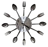 Home Kitchen Best Deals - Comfort Home Cutlery Kitchen Spoon & Fork Decorative Wall Clock, Sliver