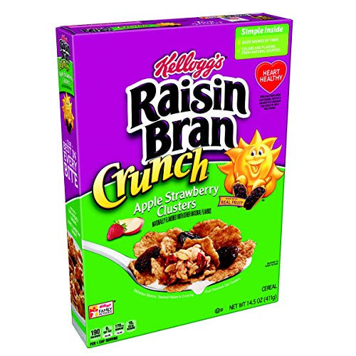 Kellogg's Raisin Bran Crunch, Breakfast Cereal, Apple Strawberry, Good Source of Fiber, 14.5 oz Box