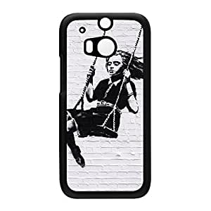 Girl Black Hard Plastic Case Snap-On Protective Back Cover for HTC? One M8 by Banksy + FREE Crystal Clear Screen Protector