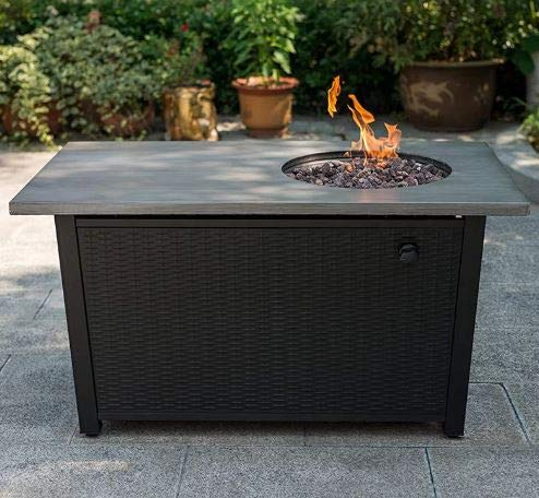 Jar Outdoor- Brushed Gray Steel Wicker Panel Stainless Steel Burning Material Rectangle-Firepit Table for Outside-Portable Propane Fire Pit-Cozy Fire Ambiance for Nights Spent at Your Patio