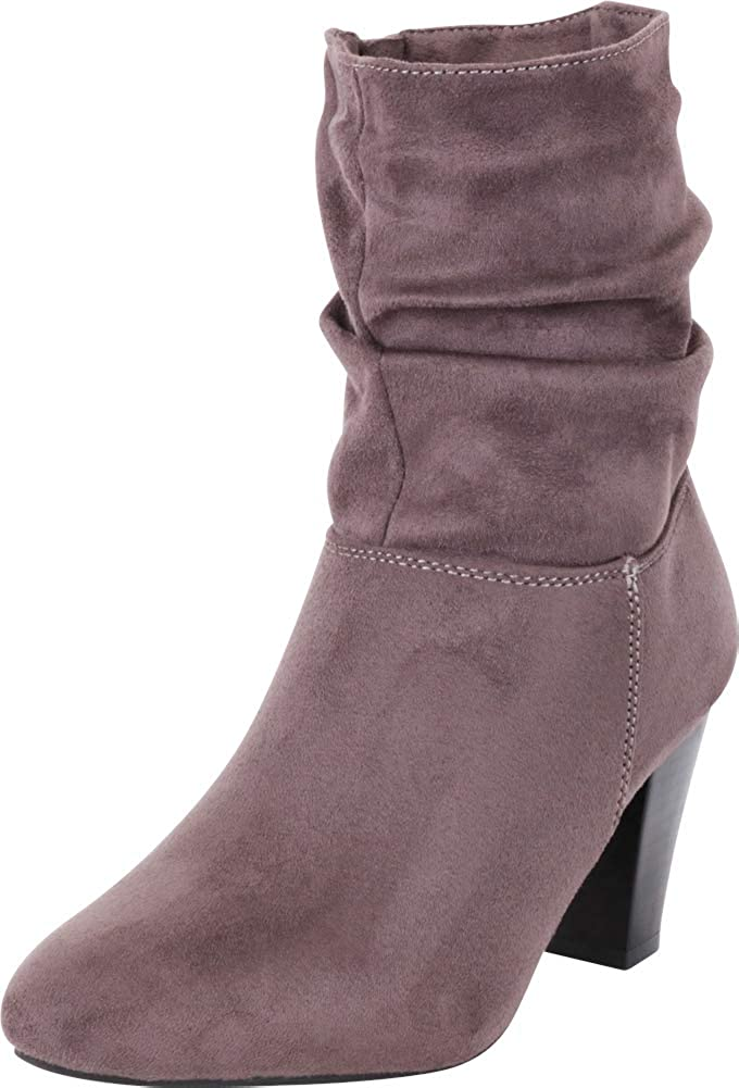 Charcoal Imsu Cambridge Select Women's Pointed Toe Ruched Slouch Chunky Stacked Heel Ankle Boot