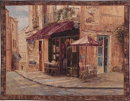 - Hillside Cafe by Haixia Liu | Woven Tapestry Wall Art Hanging | Neighborhood Open Street Cafe European Cityscape | 100% Cotton USA 41X53