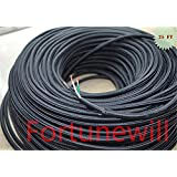 Fortunewill 25 ft 3-wire Black Cloth Covered 3-Wire Round Cord. Vintage Lamps Lights, rayon UL Certificated