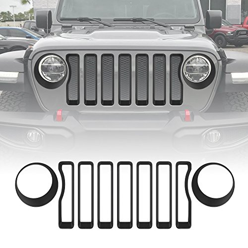 Matt Black Front Grille Grill Inserts & Headlight Covers Trim for 2018 Jeep wrangler JL Sport/Sport S (Pack of 9)