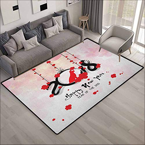 - Outdoor Patio Rug,Year of The Dog Brush Calligraphy New Year with Cherry Blossom Silhouettes,Anti-Slip Doormat Footpad Machine Washable,5'6
