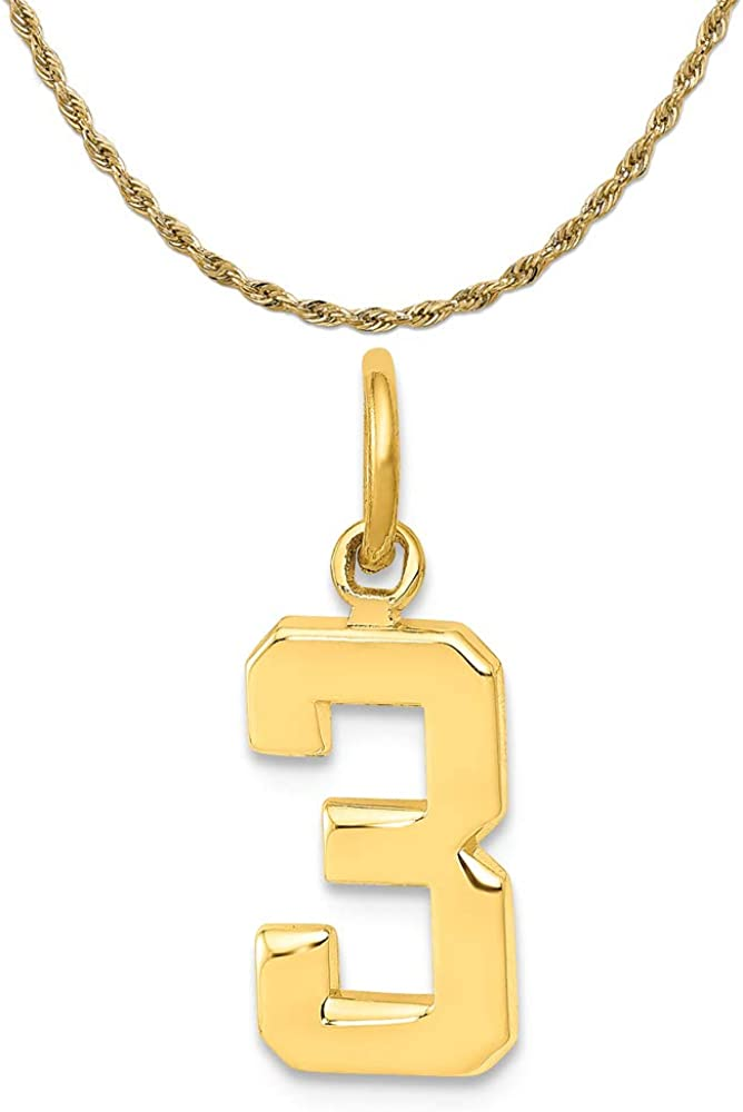14K Yellow Gold Casted Small Polished Number 3 Charm
