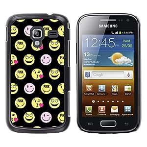 Cara sonriente feliz Emoticon divertido - Metal de aluminio y de plástico duro Caja del teléfono - Negro - Samsung Galaxy Ace 2