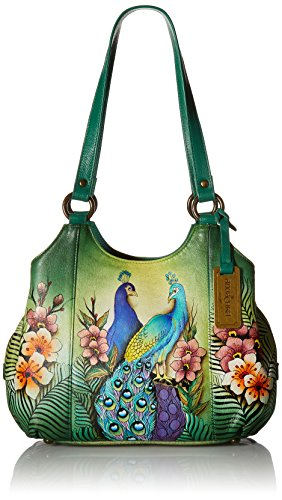 Painted Compartment Peacocks Anuschka Ppk Hand Triple passionate Medium Satchel t7w4Bwq5