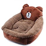 Smoosky Indoor Outdoor Soft Resistant Detachable Pet Supplies Machine Washable Pet Bed Pattern for for Cats and Small Medium Dog - Bear - L