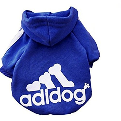 Idepet Soft Cotton Adidog Cloth for Dog, S, Navy (Blue Dog Puppy Apparel)
