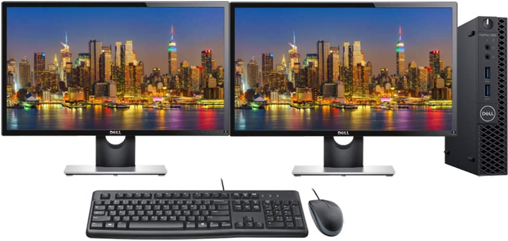 "Dell Optiplex 3060 Micro PC Bundle with Keyboard, Mouse, Dual 24"" Monitors, WiFi, Intel i5-8500T 2.1GHz, 16GB DDR4 RAM, 500GB NVMe SSD, Windows 10 Pro"