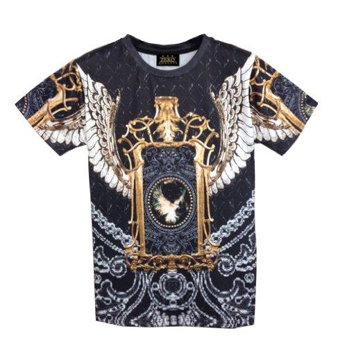 Pizoff Unisex Religious Myth Baroque Paisley Print T shirt - No2 Shape