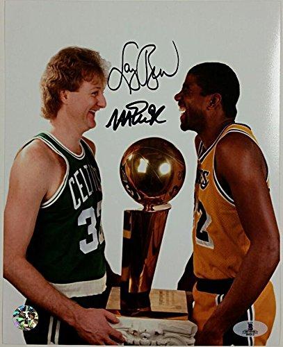 MAGIC JOHNSON + LARRY BIRD Signed 8x10 Photo #4 Lakers Celtics Beckett BAS COA - Beckett ()