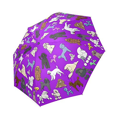 Artsadd Fashion Umbrella Poodle Umbrella Purple Foldable Sun Rain Travel (Poodle Umbrella)