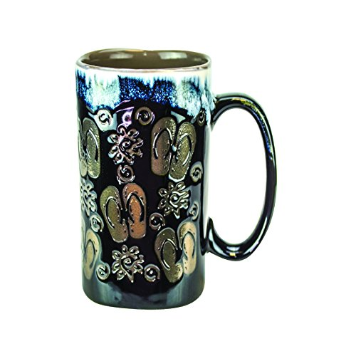 16 Ounce Coffee Mugs - Ceramic Glazed Flip Flops Design - Beautiful Kitchen Drinkware (Black, 1)