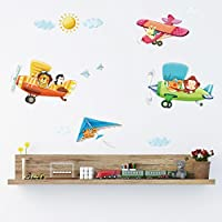 Decowall DA-1506B 3 Animal Biplanes Kids Wall Decals Wall...
