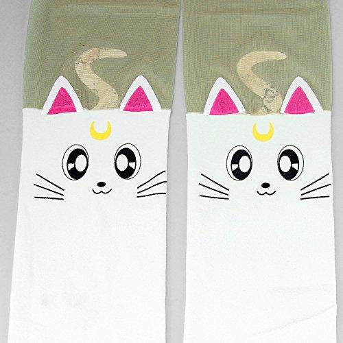 [Anime Sailor Moon Luna Cat Cute Tight Printing Socks Cosplay Pantyhose Costume (White)] (Nice Sailor Costumes)