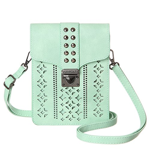MINICAT Women Hollow Texture Small Crossbody Bags Cell Phone Purse Wallet With RFID Blocking Credit Card Slots(Mint Green-Thicker) by MINICAT
