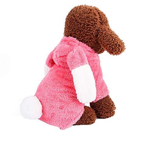 BingYELH Dog Pajamas Coats for Puppy,Cute Rabbit Design Pet PJS Jumpsuit,Soft Fleece Hoodie Clothes for Chihuahua Poodles -
