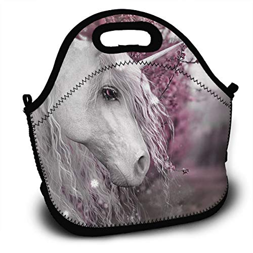 Midsummers Peach - Midsummer Sky Neoprene Lunch Bags Unicorns and Peach Blossoms Insulated Lunch Tote Lunchbox Thermal Carrying with Zipper for Men Women Kids