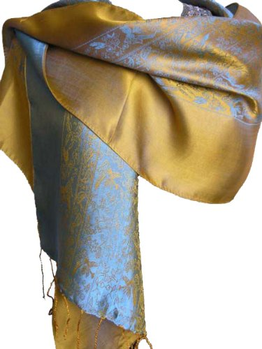 Fandori-Silk-Scarf-with-Contrasting-Color-Blue-and-Gold