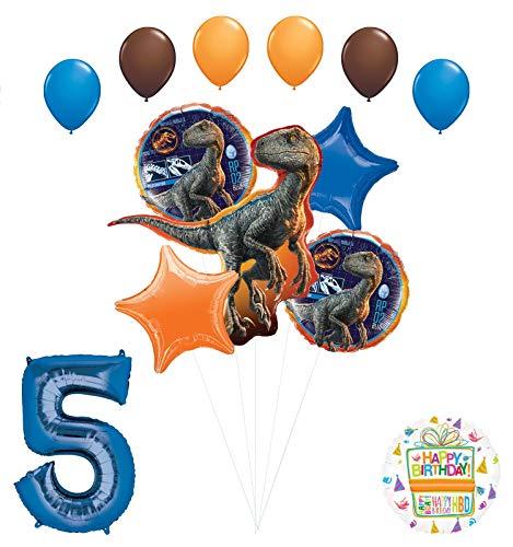 Jurassic World 5th Birthday Party Supplies Raptor Balloon Bouquet Decorations