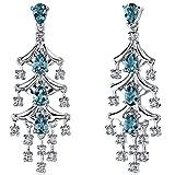 4.00 Carats London Blue Topaz Dangle Earrings Sterling Silver