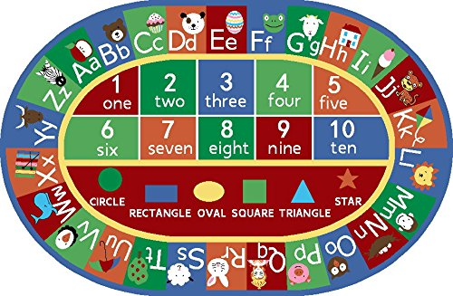 Furnish my Place 755 Shape 5X7 Kids ABC Alphabet Numbers Educational AreaRug Oval, 4'4'' X6'9, Multicolor