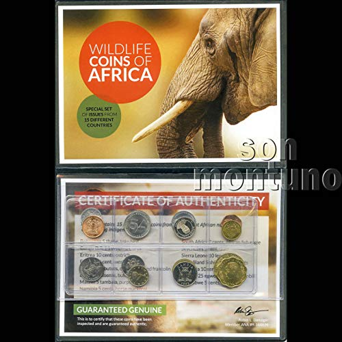 WILDLIFE COINS OF AFRICA - Collection of 15 Uncirculated Legal Tender Coins from 15 Different African Nations - All Featuring Images of Their Indigenous Wildlife - Comes in Beautiful Folder with Certificate of Authenticity & Identifier List - GREAT SET FOR BEGINNERS & SCHOOLS