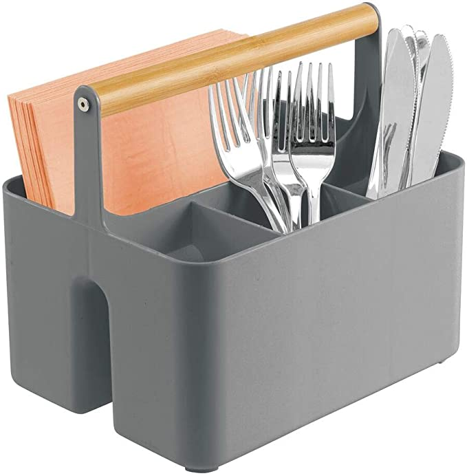 Metal Kitchen Decor Bin Sectioned Flatware Caddy #1400