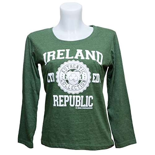Irish Connexxion Ladies Long Sleeve T-Shirt With Ireland Republic Ltd Edt Print, Green Colour Ireland Irish Long Sleeve