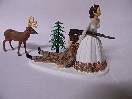 Wedding Party Reception Camo Groom Deer Hunter both dark hair Cake Topper