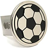 Soccer Ball Chrome Trailer 2'' Hitch Plug Cover Cap Stainless Steel