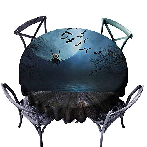 VIVIDX Round Tablecloth,Halloween,Misty Lake Scene Rusty Wooden Deck Spider Eyeball and Bats with Ominous Skyline,Party Decorations Table Cover Cloth,47 INCH,Blue Brown ()