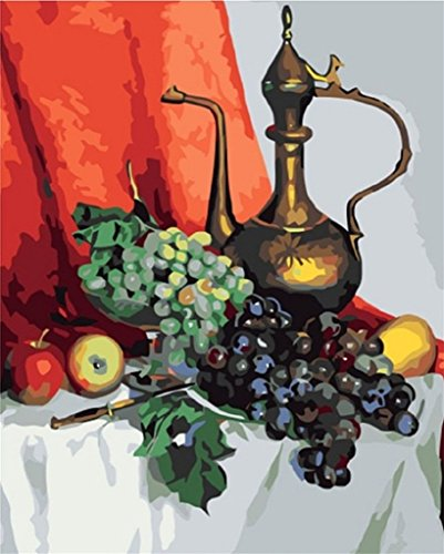 Colour Talk Diy oil painting, paint by number kit - Crystal grape Still Life and teapot 1620 inch.