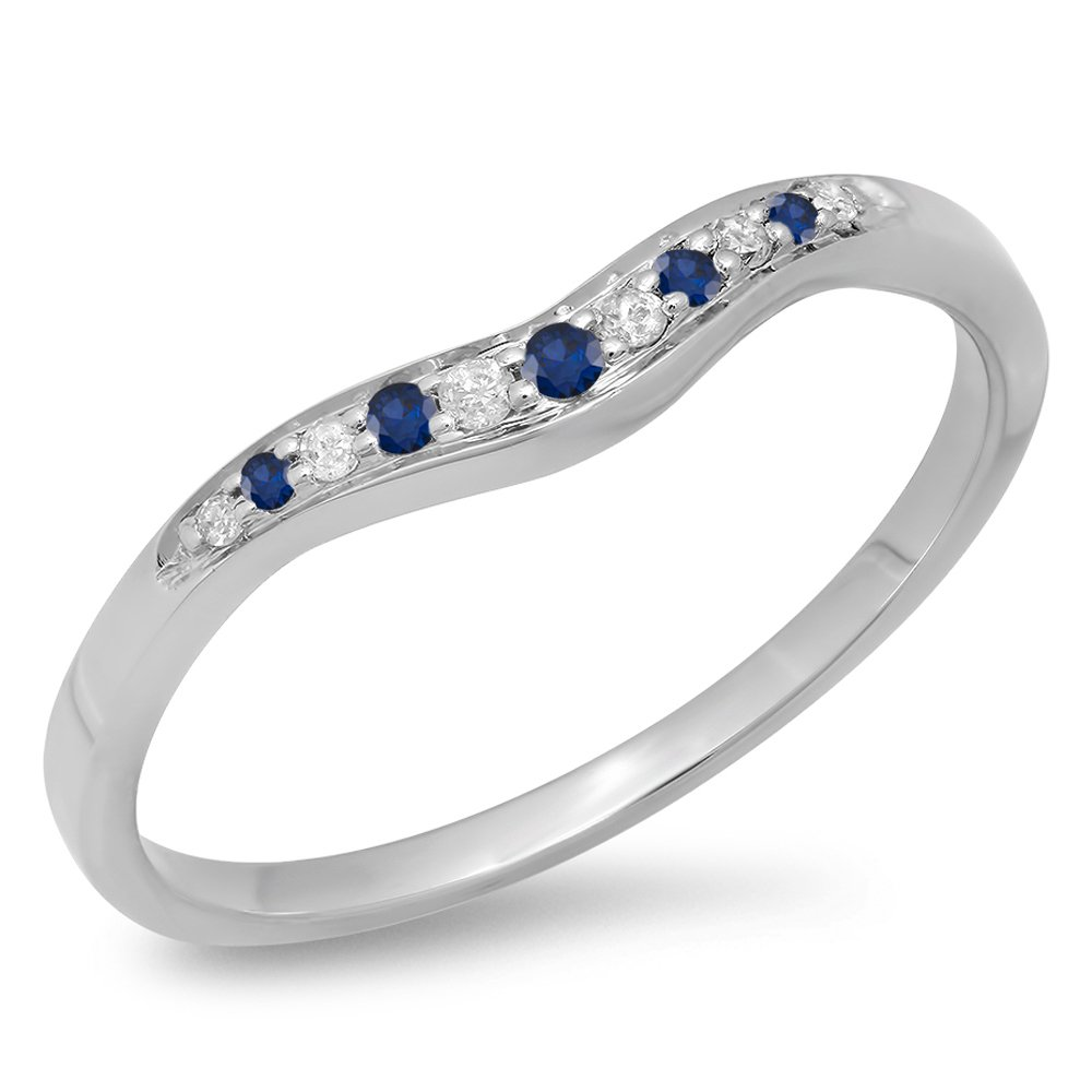 KAASHVEE JEWELS 0.11 Carat (Ctw) 14K White Gold Over Sterling Silver Round Shaped Blue Sapphire & White Diamond Ladies Anniversary Wedding Stackable Contour Guard Band by KAASHVEE JEWELS