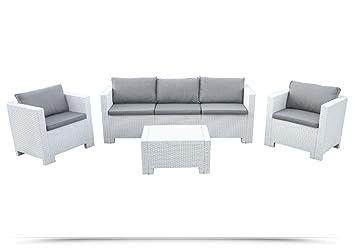 Wohnzimmer Rattan Outdoor Garten Sofa 3 Sitzer Weiss 2 Sessel 1 Tisch 10 Kissen