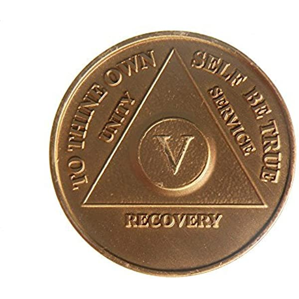 Alcoholics Anonymous AA Certificate of Sobriety 5 Year Award Medallion Token