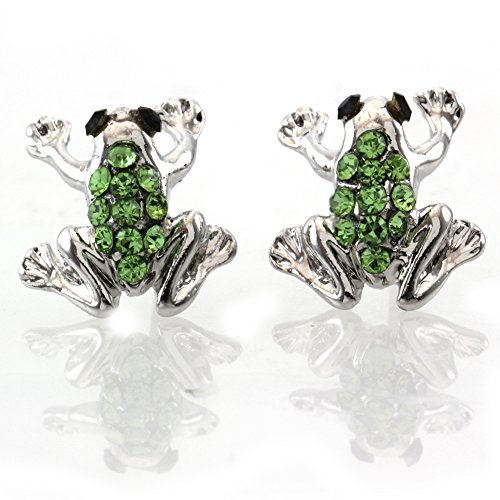 Toad Costume Female (Green Frog Earrings Stud Post Style Toad Animal Lovers for Women Teens Girls Fashion Jewelry)