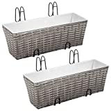 Alger Max Wicker Hanging Planter Box 2 Set Durable Plant Container Balcony Weatherproof Poly Rattan Flower Plant Pot Window Wall Balcony Deck Gray